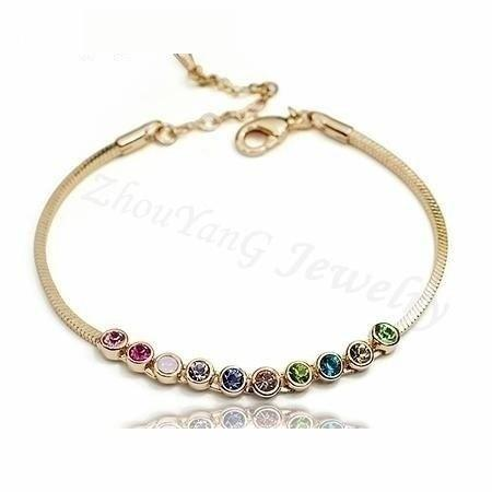 Multicolored Exquisite Ball Rose Bracelets with Australian Crystals - SolaceConnect.com