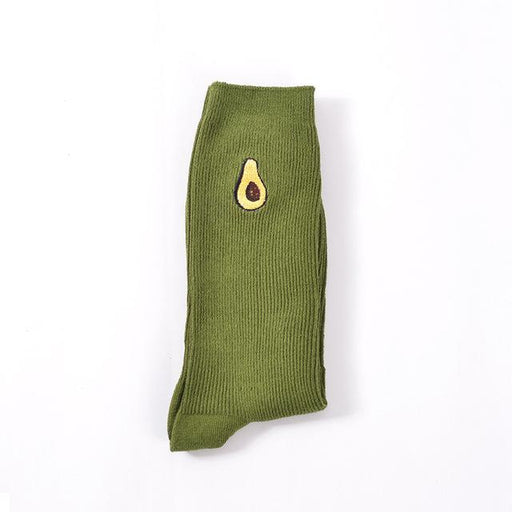 Korean Women's Avocado Banana & Fruit Cartoon Embroidery Knee Socks - SolaceConnect.com