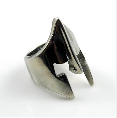 Black Silver Color Stainless Steel Spartan Helmet Party Ring for Men - SolaceConnect.com