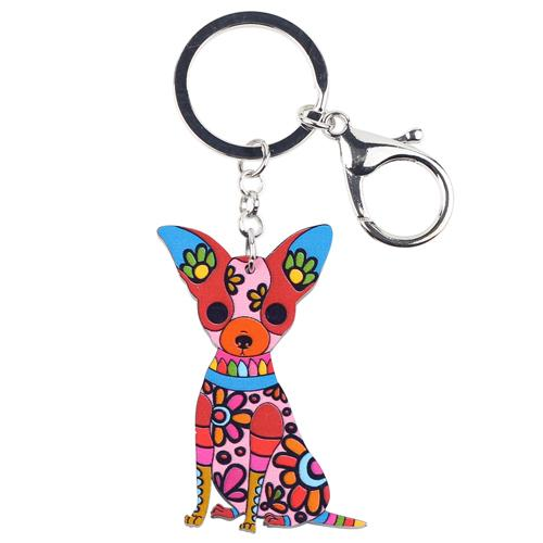 Acrylic Chihuahua Dog Key Chain Pom Bag Charm Gift for Women - SolaceConnect.com