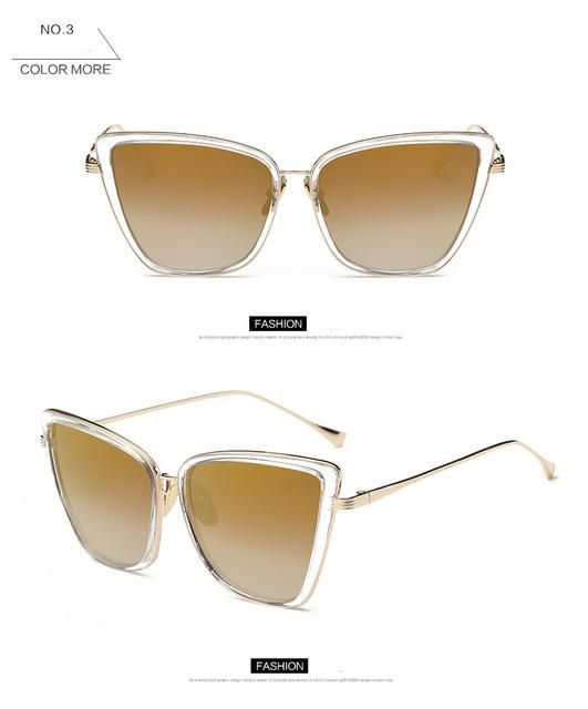 Women's Fashion Cateye Sunglasses with Designer Retro Vintage Alloy Frame - SolaceConnect.com