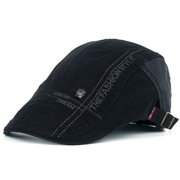 Summer Letter Embroidery Cotton Cap Peaked Casual Beret Hats for Men - SolaceConnect.com