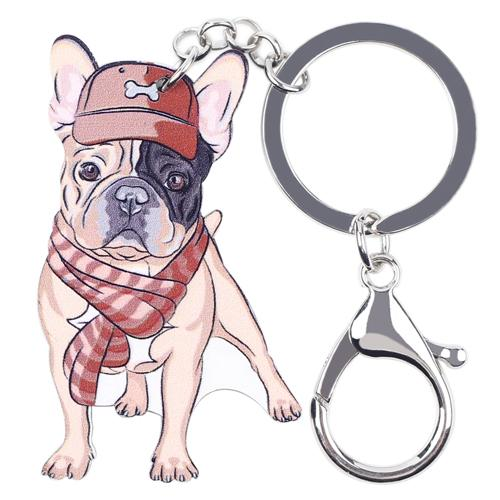 Acrylic French Bulldog Key Chain Bag Charm Pom Gift for Women - SolaceConnect.com