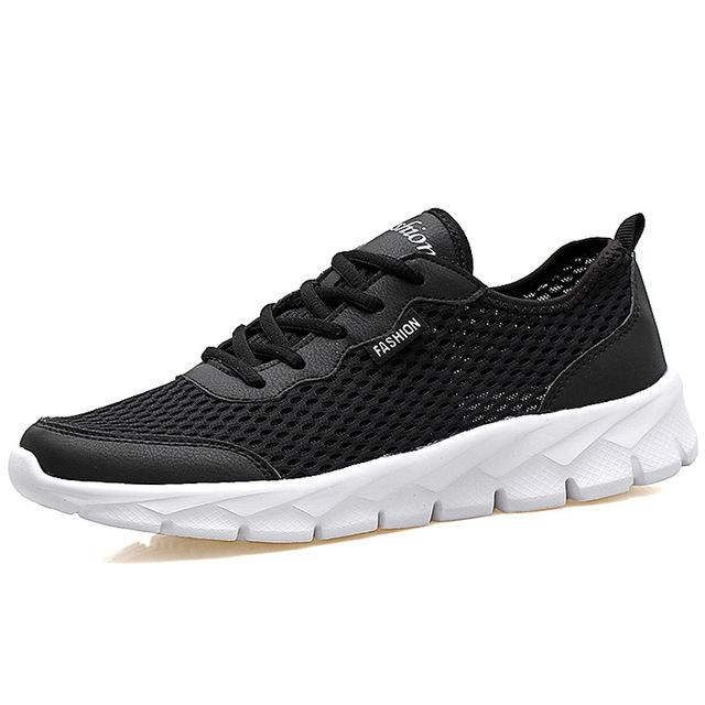 Men's Casual Summer Breathable Lace Up Gray Black Flat Mesh Shoes - SolaceConnect.com