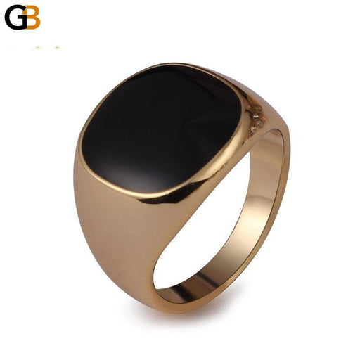 Gold Color Men's Classic Fashion Ring with Black Enamel Painting - SolaceConnect.com