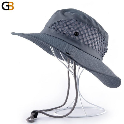 Summer Breathable Mesh Wide Brim Foldable Bucket Style Beach Hat - SolaceConnect.com