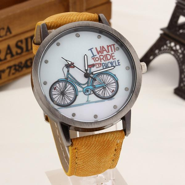 Casual Vintage Leather Bicycle Pattern Cartoon Quartz Watches for Women - SolaceConnect.com