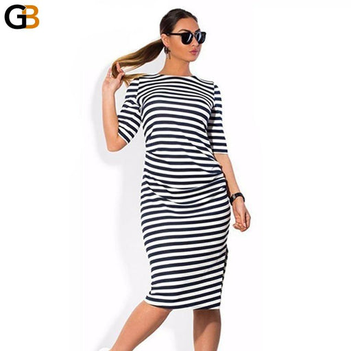Fashionable Striped Big Size Women's Knee-Length Loose Dresses - SolaceConnect.com