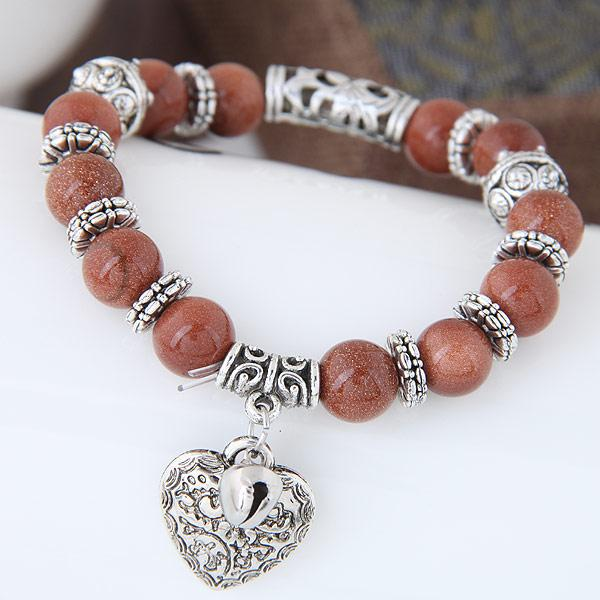Glasses Stone Handmade Beads Heart Shaped Vintage Bracelet for Women - SolaceConnect.com