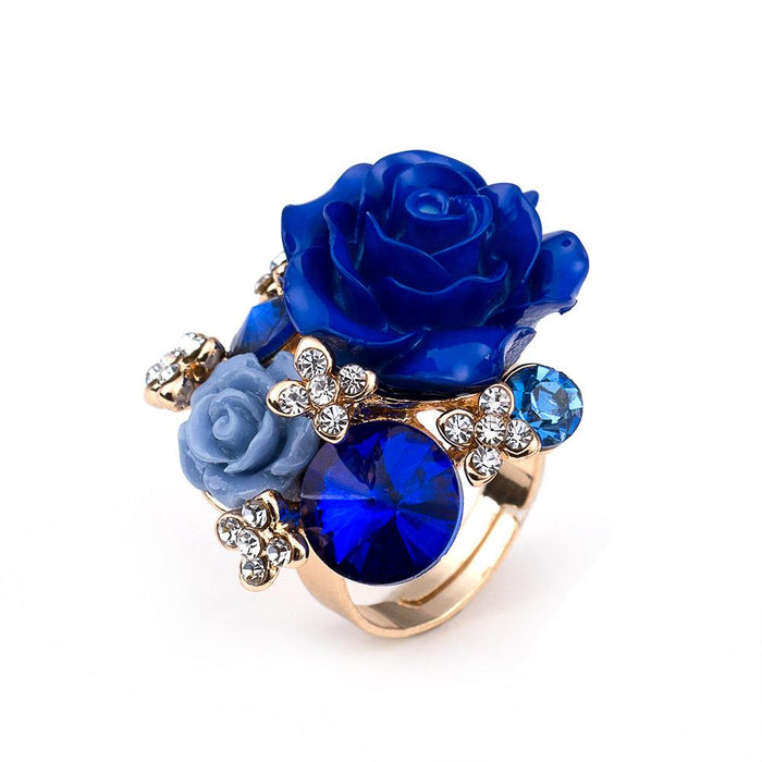 Women's Big Crystal Rose Flower Adjustable Gold Color Ring for Party - SolaceConnect.com