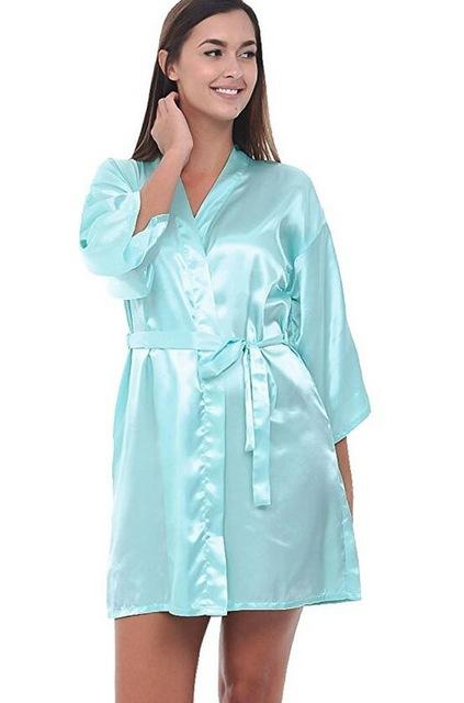4c55cdbdb81 ... Women Silk Satin Short Night Robe Solid Kimono Robe Fashion Bath Robe  Sexy Bathrobe Peignoir Femme ...