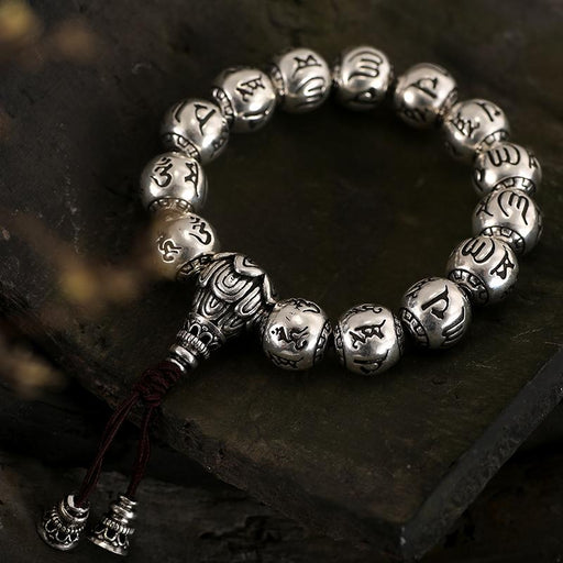 Solid S990 Silver Round Bead Buddhist Bracelet Carved Tibetan Prayer Mantra Om Mani Padme Hum Rope - SolaceConnect.com