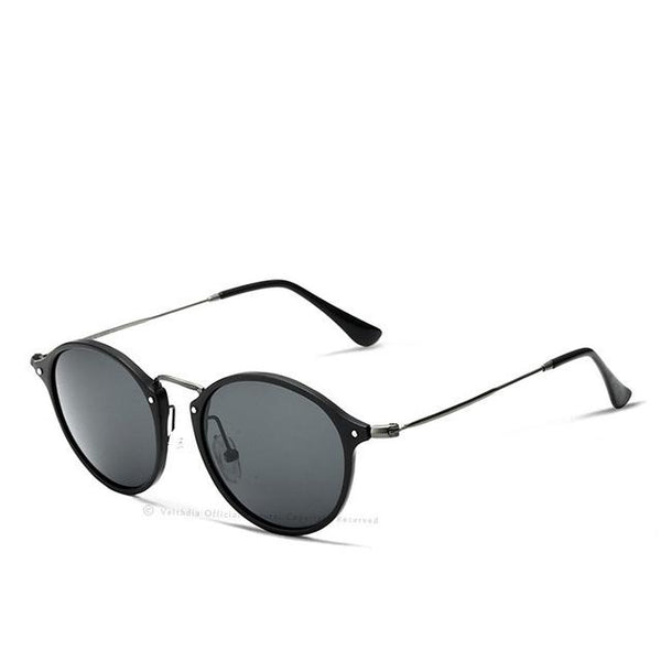 Unisex Fashion Vintage Aviation Aluminum Round Polarized Sunglasses - SolaceConnect.com
