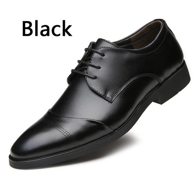 High Quality Pointed Toe England Style Business Wedding Leather Dress Shoes - SolaceConnect.com