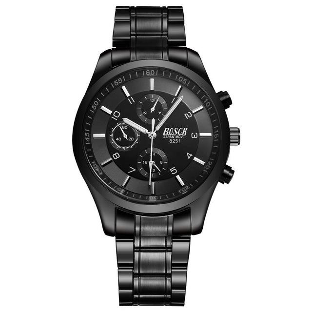 Luxury Men's Waterproof Stainless Steel Band Military Black Quartz Watches - SolaceConnect.com