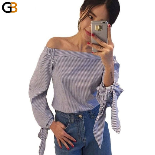 Sexy Summer Women's Blue Off Shoulder White Blouse Shirt with Bow - SolaceConnect.com