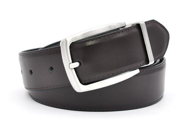 Luxury Men's Real Leather 35mm Reversible Buckle Belt Black Brown Colors - SolaceConnect.com