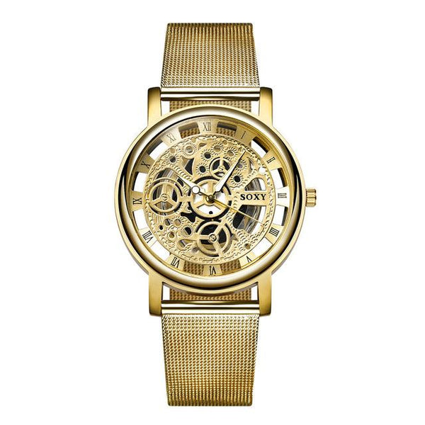 Unisex Luxury Silver & Golden Hollow Steel Hombre Quartz Wristwatch - SolaceConnect.com