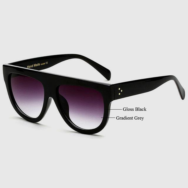 Women's High Quality Acetate Top Flat Shield Shape Vintage Sunglasses - SolaceConnect.com