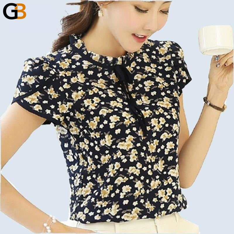 Summer Ladies Floral Print Chiffon Blouse Bow Neck Shirt Short Sleeve Chiffon Tops Plus - SolaceConnect.com
