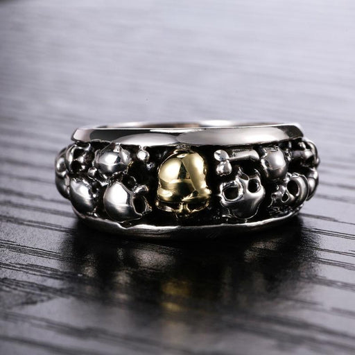 Gothic 100% 925 Sterling Silver Many Skulls Vintage Punk Ring for Men - SolaceConnect.com