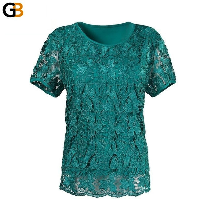 Summer Big Yards Short Sleeve Lace Fashion Plus Fertilizer Tops T-Shirt - SolaceConnect.com