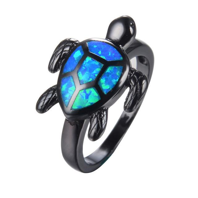 Women's Fashion Black Gun Plated Cute Turtle Animal Blue Shiny Opal Rings - SolaceConnect.com