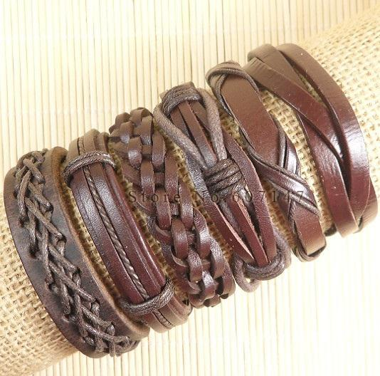 Handmade Real Charm Wrap Brown Leather Bracelet 6Pcs for Men & Women - SolaceConnect.com