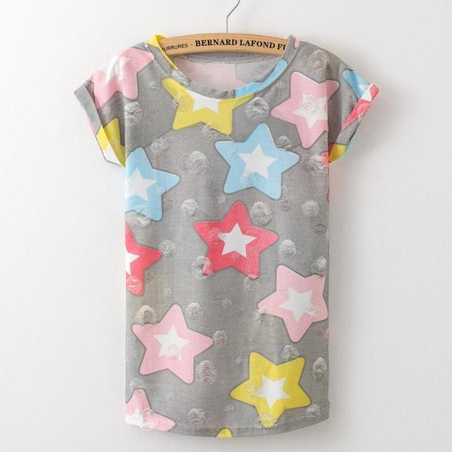 Women's Plus Size Hole Short Sleeve Star Printed Casual Vintage T-Shirt - SolaceConnect.com