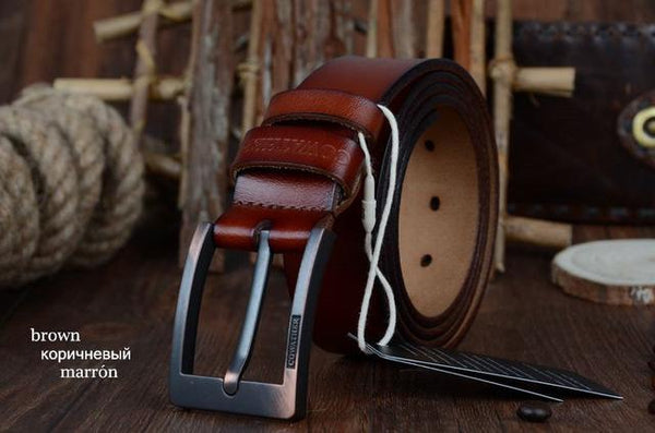 Genuine Cow Leather Vintage Designer Pin Buckle Belts for Men - SolaceConnect.com