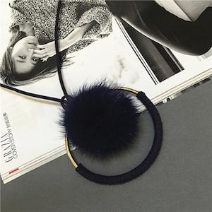 Top Quality Super Star Style Mink Fur Ball Metal Round Necklaces for Women - SolaceConnect.com