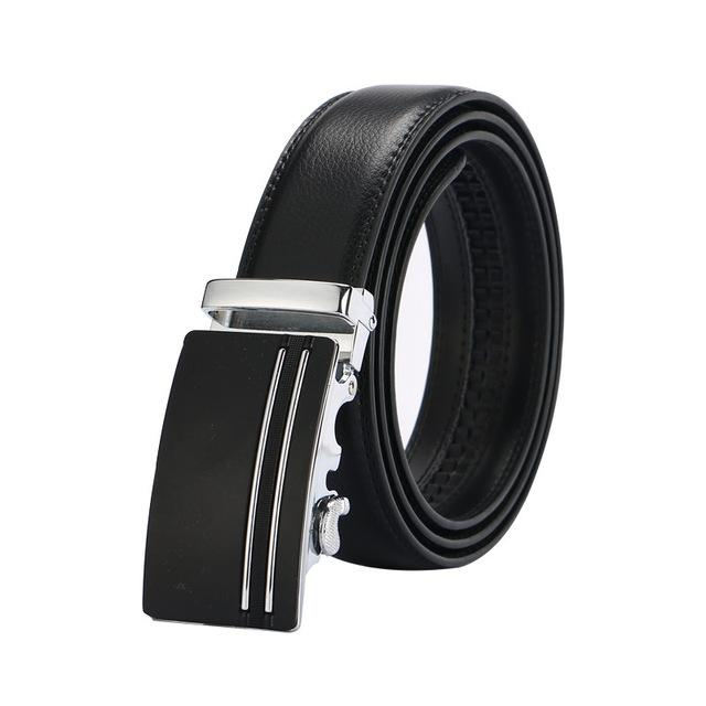 Men's Fashion 100% Genuine Leather Metal Automatic Buckle Belt - SolaceConnect.com