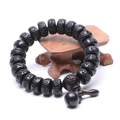 Men's & Women's Hand Carved Real Peach Wood Beads Buddha Bracelets - SolaceConnect.com