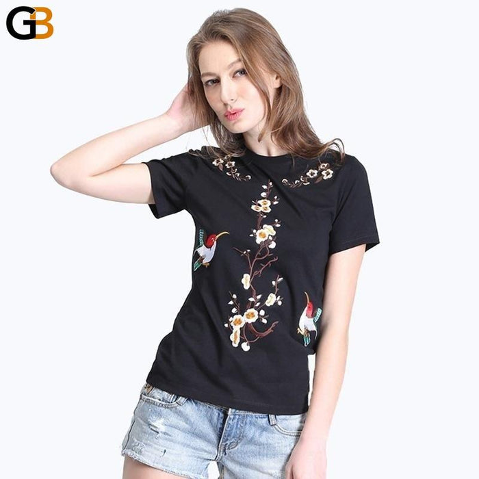 Women's Animal Embroidery Kawaii Pattern Short Sleeve Cotton T-Shirt Tops - SolaceConnect.com