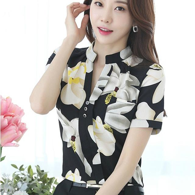 Fashion V-Neck Chiffon Blouses Slim Women Chiffon Blouse Office Work Wear shirts Women Tops - SolaceConnect.com
