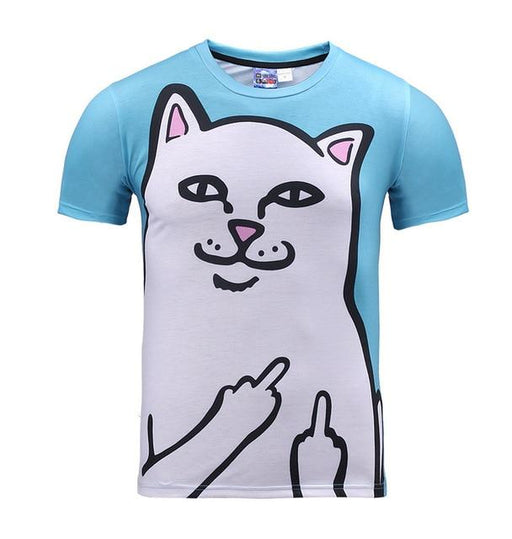 Fluffy Cuddly Kitten O-Neck T-Shirts with Terrified Cats 3D Print - SolaceConnect.com