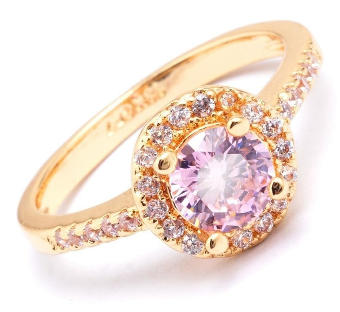 Fashion Jewelry Lovely Gold Color Pink Zirconia Engagement Rings for Women - SolaceConnect.com