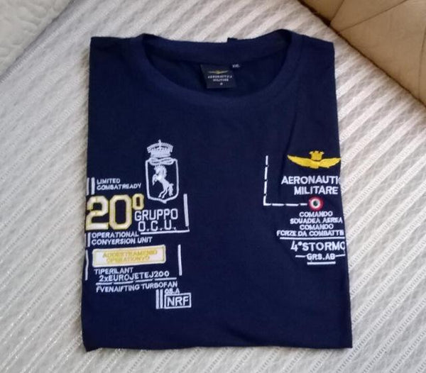 Fashion Fitness Embroidery Aeronautica Military Men's T-Shirt - SolaceConnect.com