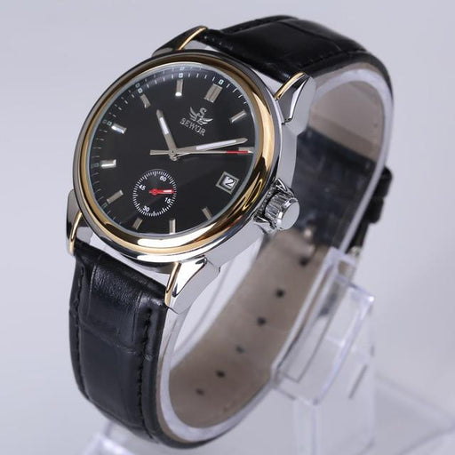 SEWOR Top Brand Fashion Design 4 Hands luxury Men Watches Leather Strap Stainless Steel Bezel - SolaceConnect.com