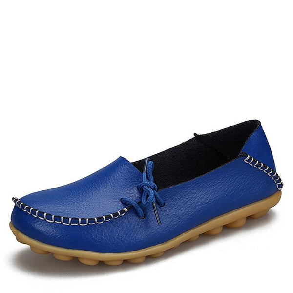 Women's Real Leather Soft Lace-Up Flats Driving Casual Moccasin Shoes - SolaceConnect.com