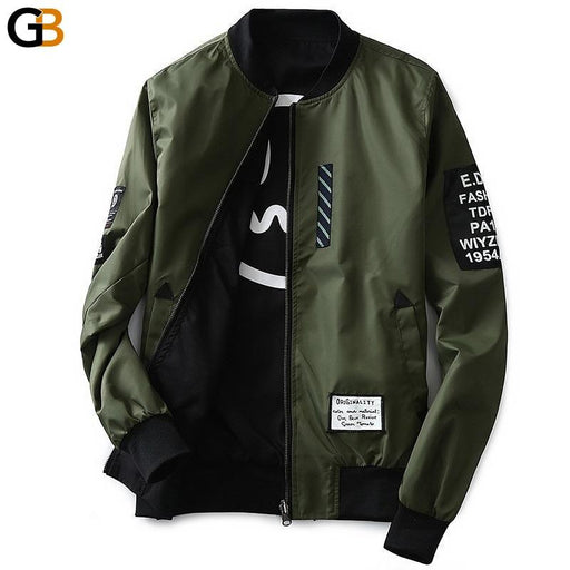 Grandwish Bomber Jacket Men Pilot with Patches Green Both Side Wear Thin Pilot Bomber Jacket Men - SolaceConnect.com