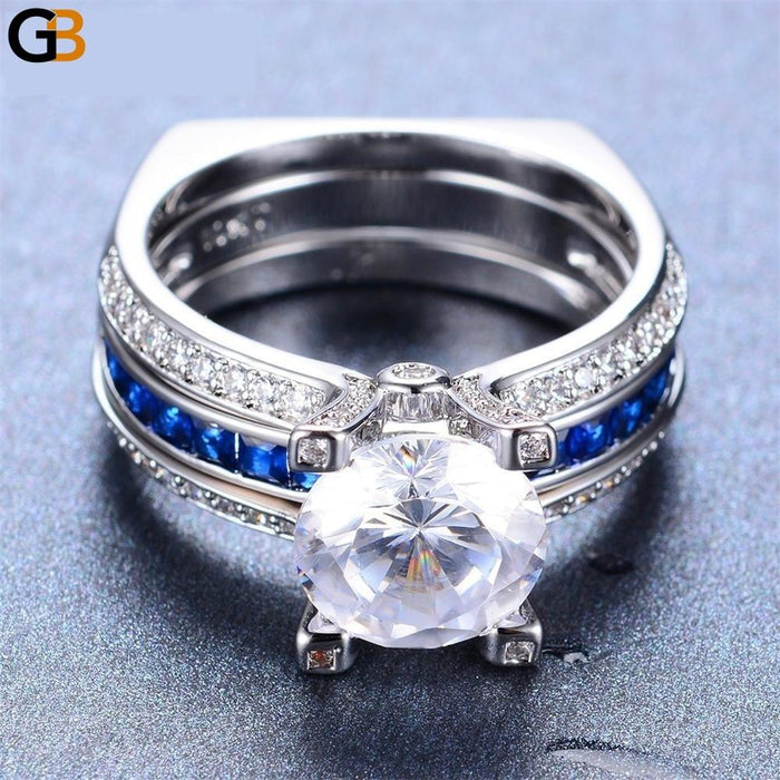 Luxury Blue Gold Filled Vintage Wedding Ring Set Bridal Sets - SolaceConnect.com