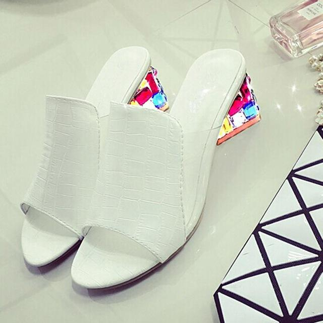Rhinestone Summer Fashion Shallow Women's Leather Sandal Shoes - SolaceConnect.com