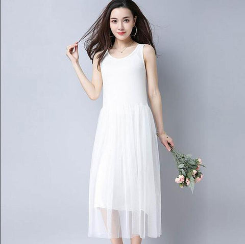 Summer Fashion Women Mesh Pleated Modal Vest Dress High Waist Causal O-Neck Sleeveless Slim - SolaceConnect.com