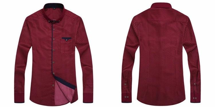 Men's Casual Long-Sleeved Printed Slim Fit Shirt for Social Business - SolaceConnect.com