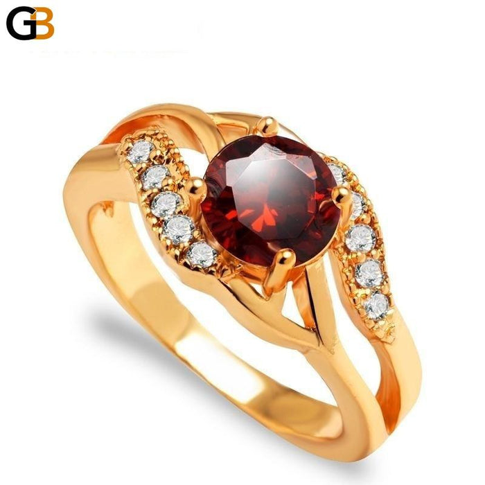 Top Quality Women's Gold Color Wedding Ring with Cubic Zirconia Crystal - SolaceConnect.com