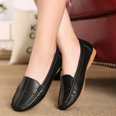 Soft Leather Slip On Casual Shallow Mouth Flat Shoes for Middle-Aged Mother - SolaceConnect.com