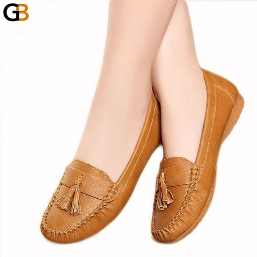 Fashion Soft Bottom Women's Flats Shoes with Tassels for Elderly Women - SolaceConnect.com