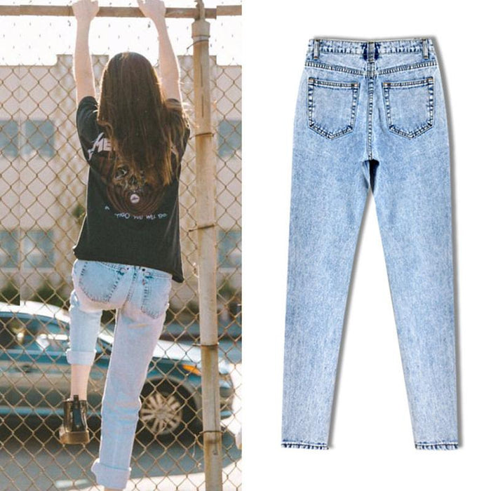 High Quality Women Long Jeans High Waist 100% Cotton Snow Wash Type Denim Jeans Vintage Loose - SolaceConnect.com