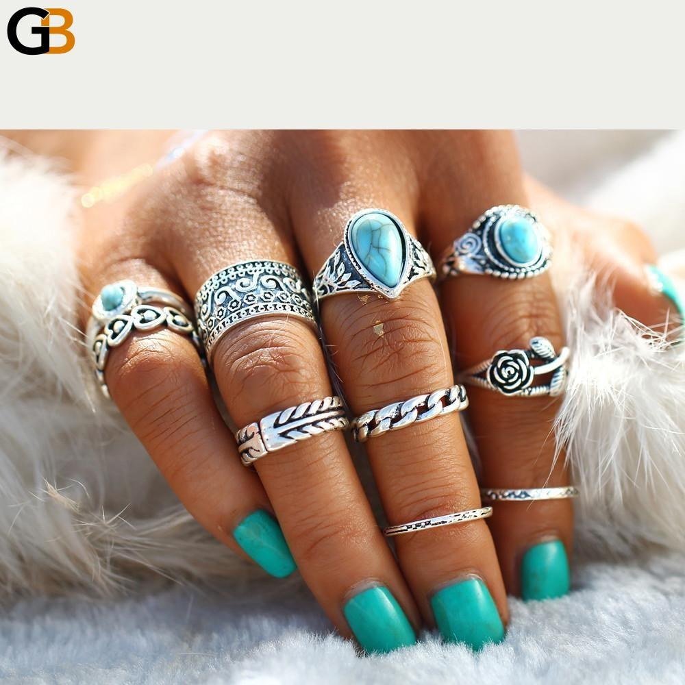 17KM 2 Color Rose Heart Midi Ring Sets Boho Beach Anillos Vintage Tibetan Flower Knuckle Rings for - SolaceConnect.com